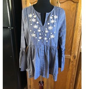 RD & Koko Blue Top with Embroidery Size XL